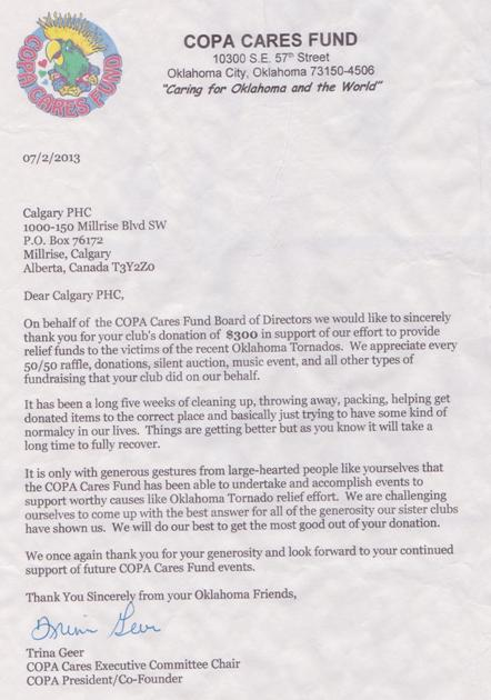 Thank-you letter from COPA